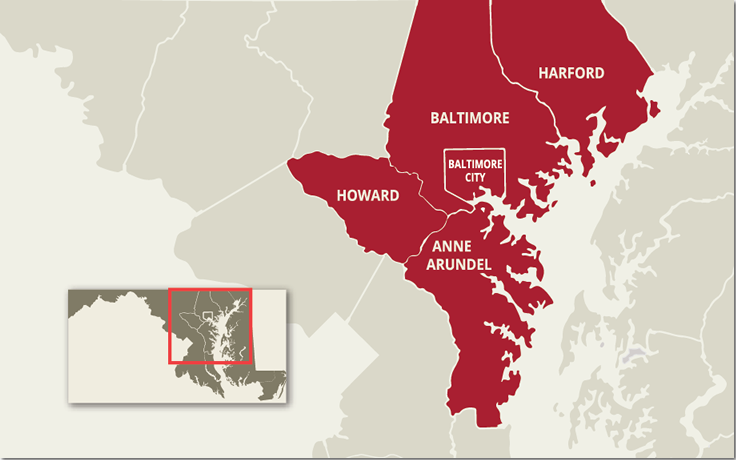 Map of Central Maryland showing Howard, Baltimore, Harford and Anne Arundel Counties and the City of Baltimore